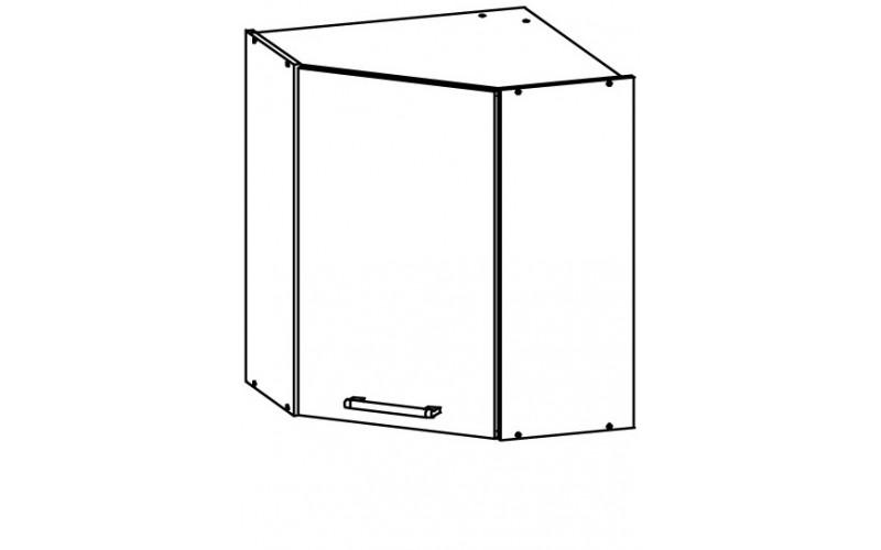 MODENA biely lesk/grafit matný MD10/G60NW, horná rohová skrinka v šírke 60x60 cm