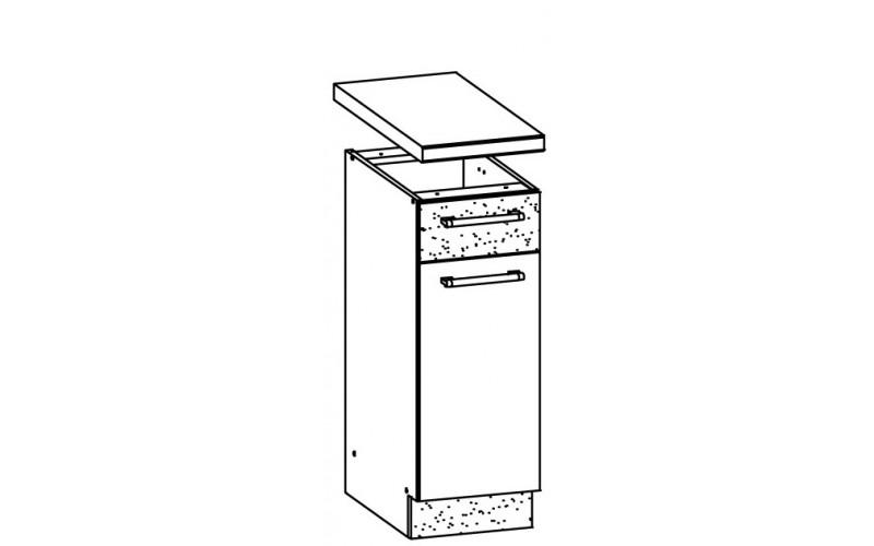 MODENA biely lesk/grafit matný MD12/D30S1, dolná skrinka so zásuvkou v šírke 30 cm