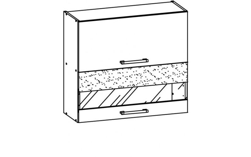 MODENA biely lesk/grafit matný MD09/G80W, horná výklopná skrinka so sklom v šírke 80 cm
