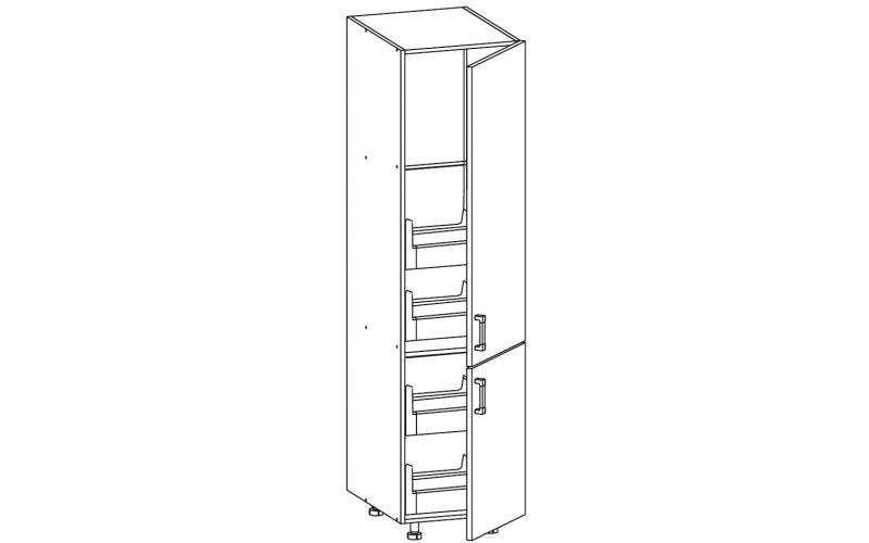TAFNE biely lesk D4STW60/207, vysoká skrinka s CARGO zásuvkami v šírke 60 cm a výške 207 cm