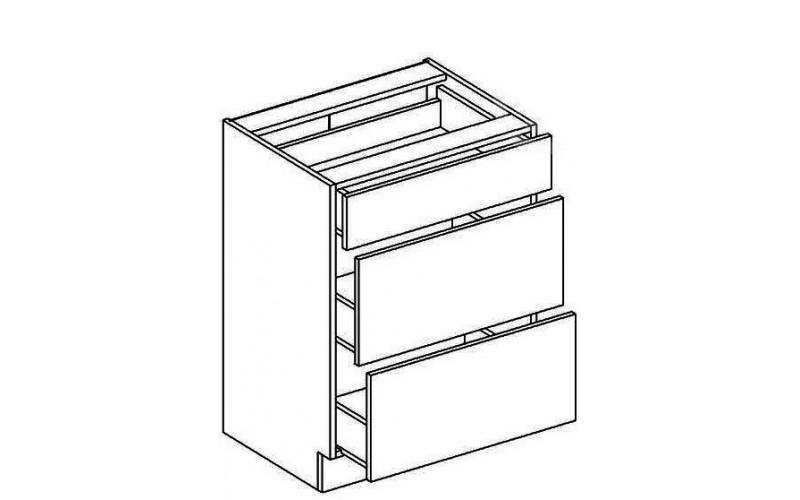CAPPUCINO NEW MDF D60S3, dolná skrinka so zásuvkami v šírke 60 cm