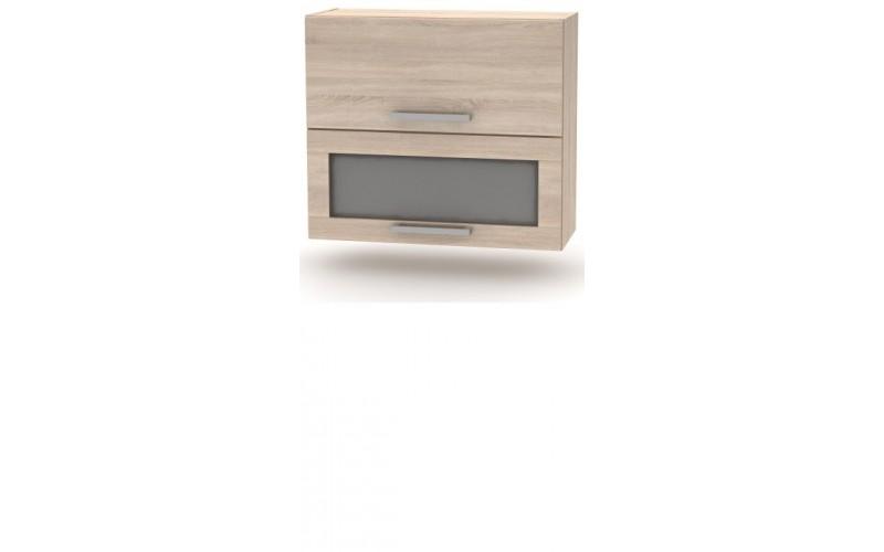 NOVA PLUS NOPL-016-VH dub sonoma, horná výklopná skrinka so sklom v šírke 80 cm