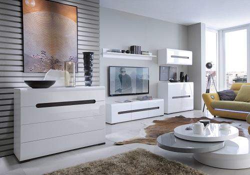 AZTECA TRIO biela/biely lesk, sektorový nábytok