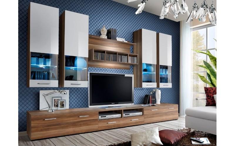 DORADE I slivka/biely lesk, obývací komplet