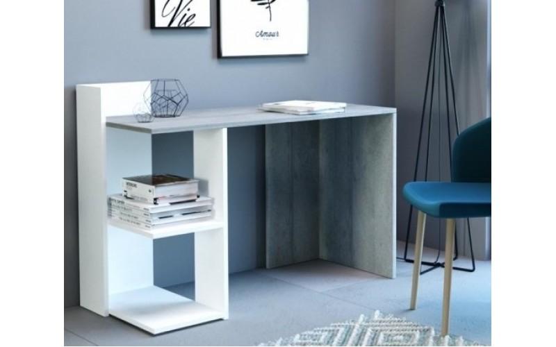 PACO 01 beton/biela, písací stolík