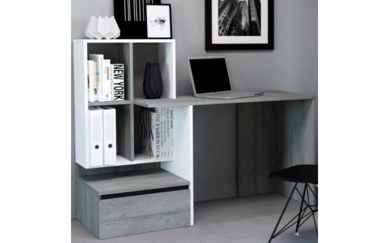 PACO 02 beton/biela, písací stolík