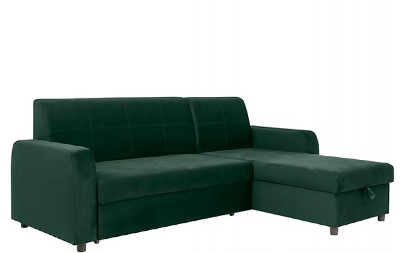 KIRSTEN IV zelená, rohová rozkladacia sedacia súprava